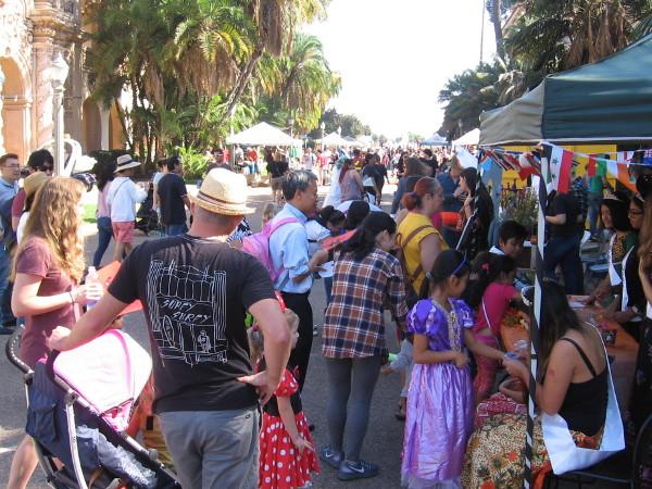 Many families filled El Prado during Balboa Park's fun Halloween Family Day.