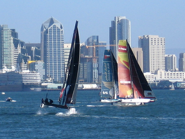 Super fast GC32 catamarans fly through and above San Diego Bay during an Extreme Sailing Series 2017 race!