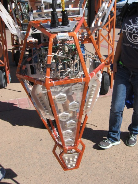 The Electric Giraffe can move about while using an array of sensors in its head. When the neck is raised, this crowd-pleasing robot is 17 feet tall.