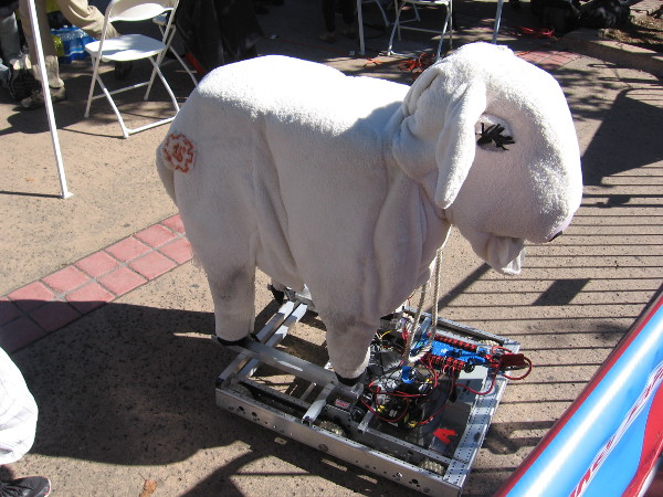 This cute cow robot is named Milky White. It can move its eyeballs, eyelids, ears, tail and jaws!