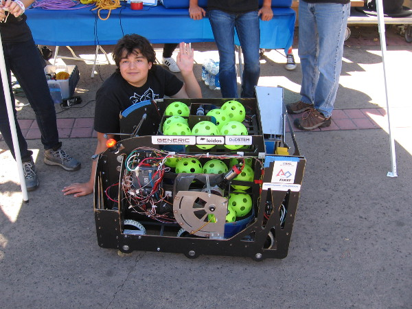 This robot named Darth Zamboni was created by the Top Hat Technicians of High Tech High North County. It launches balls!