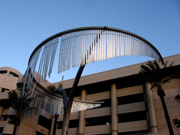 Late sunlight on one of the rotating Wind Palms created by artist Ned Kahn in 2008.