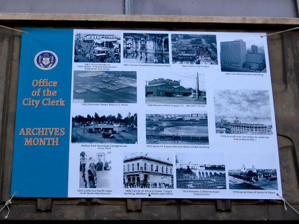 Banner at Civic Center Plaza celebrates Office of the City Clerk's Archives Month. Images include glimpses of San Diego history. (Click to enlarge.)
