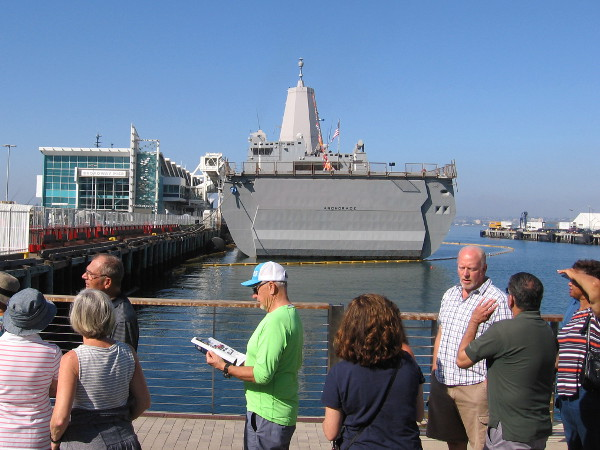 Waiting in line for the weekend Fleet Week event, which includes a ship tour of the amphibious transport dock USS Anchorage.