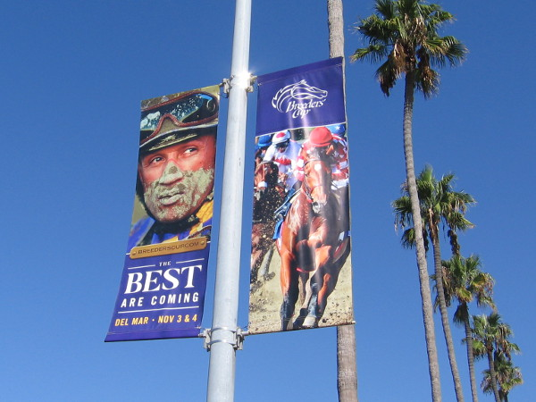 Banner along the Embarcadero promote the Breeders' Cup, which is coming to Del Mar in November.