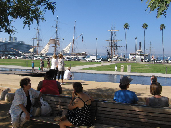 Relaxing at the Waterfront Park on a beautiful October Saturday in San Diego.