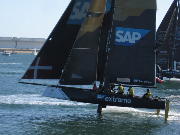 Once the catamarans attain sufficient speed, they become airborne, maintaining control with foils!