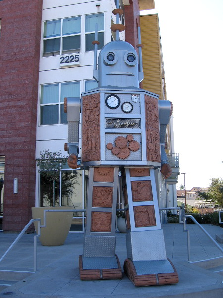 A giant 16-feet-tall robot stands guard on Commercial Street!