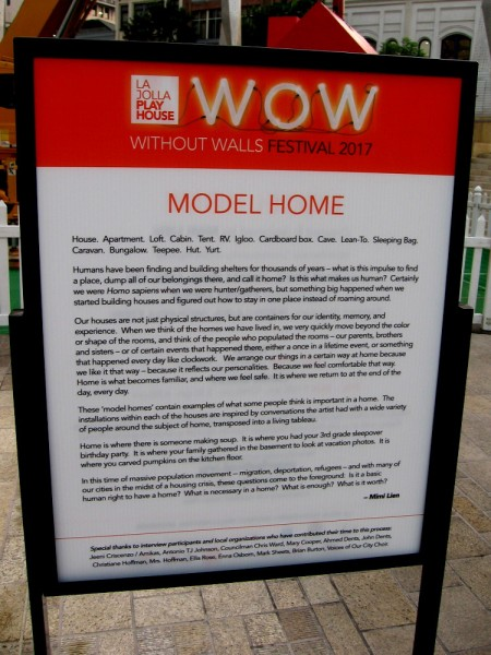 Model Home, in downtown San Diego's Horton Plaza Park, is part of the La Jolla Playhouse Without Walls WOW festival!