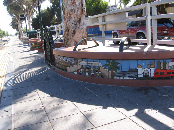 Photo along length of 25th and Commercial Street trolley station of the Orange Line. This is the eastbound platform.
