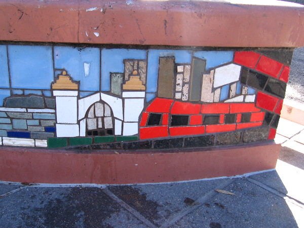 This small tile mosaic scene features a red trolley in front of downtown's Santa Fe Depot.
