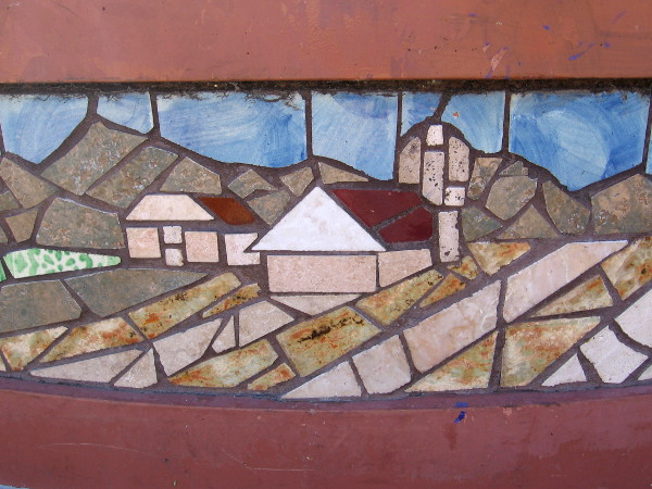 Mosaic shows a ranch in a Southern California landscape.
