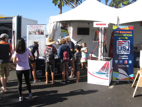The Race Village features many vendors and organizations. US Sailing has a scavenger hunt for kids.