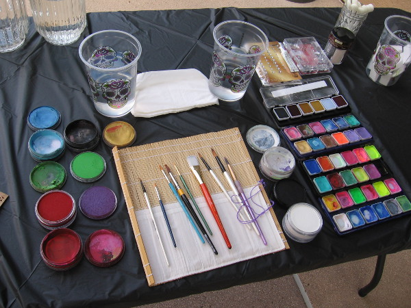 The tools of a face painter.