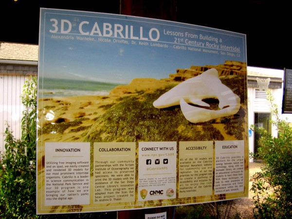 Sign inside Visitor Center at Cabrillo National Monument describes the fascinating 3D Cabrillo project.