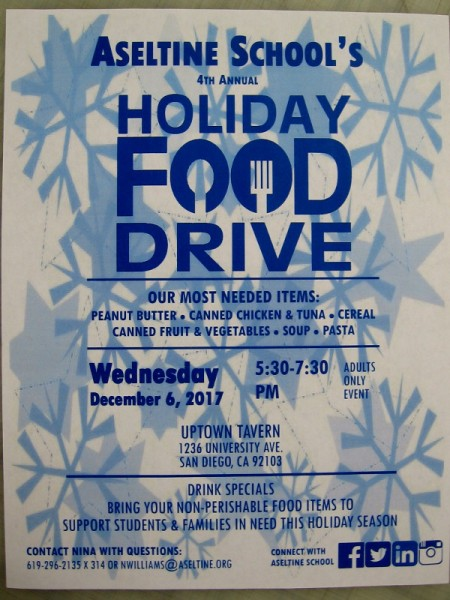 Aseltine School's 2017 Holiday Food Drive takes place Wednesday, December 6, 530 pm to 730 pm, at Uptown Tavern in Hillcrest.