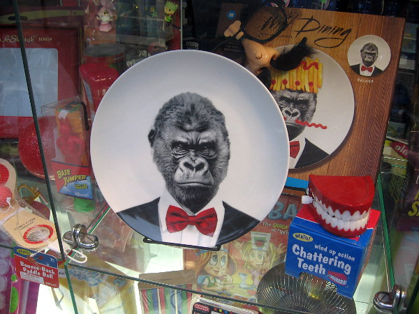 A well-dressed gorilla on a plate in a funny San Diego shop window. I also see some wind-up chattering teeth.
