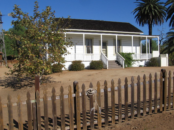 Photo of the rustic Sikes Adobe Farmhouse on a sunny November day.