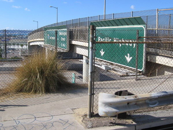 The Interstate 5 pedestrian overpass at Palm Street connects India Street to Kettner Boulevard. It is little used. The homeless sometimes make it their home.