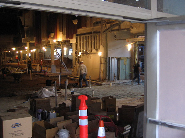 Tearing out the interior of the old Gaslamp 15 movie theater.