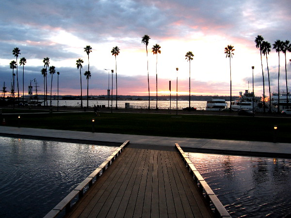 Looking west toward San Diego Bay at sunset, from the north section of Waterfront Park.