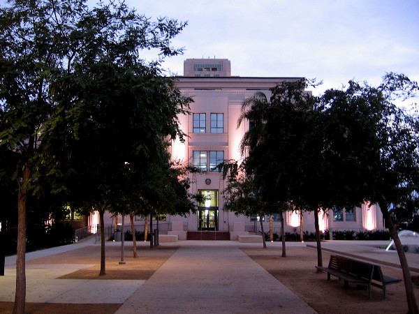 The lights are on. The north end of the handsome County Administration Building is ready for night.