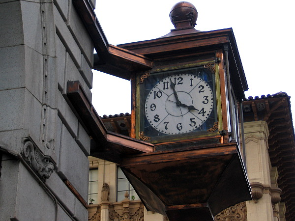 The clock on the John D. Spreckels Building is optimistic. Almost four o'clock on Friday would be good right now.