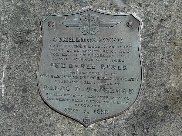 Plaque dated July 1, 1959 commemorates Waldo D. Waterman for his many contributions to the science of flight.
