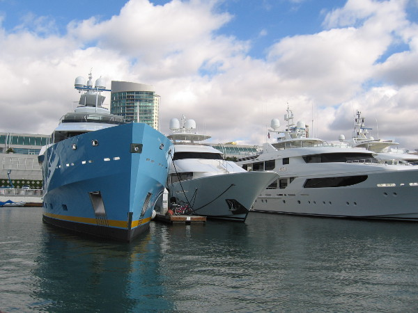 Beautiful yachts in a row behind the San Diego Convention Center.
