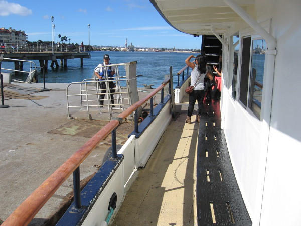 People arriving at Coronado Island ready to disembark the small ferry.