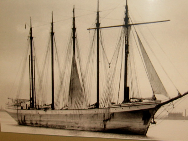 Old photo of the Malahat, the Queen of Rum Row. The five-masted schooner successfully delivered rum and other spirits along the West Coast during Prohibition.