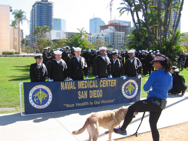 Before the parade, representatives of Naval Medical Center San Diego posed for pictures.