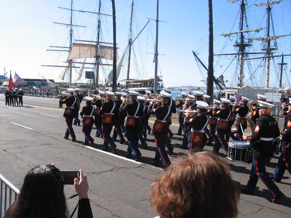The parade heads down Harbor Drive, along San Diego's beautiful Embarcadero. The parade route continued to Seaport Village.