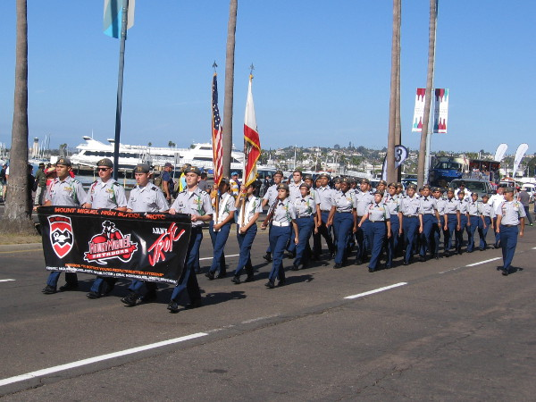 Here comes the Mount Miguel High School JROTC.