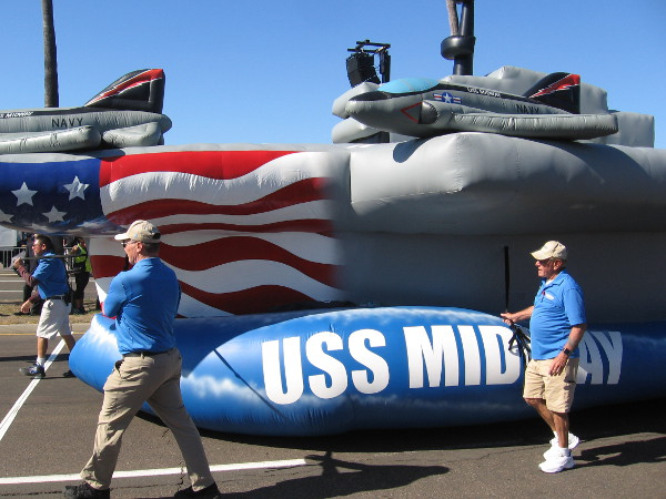 The kids standing near me loved seeing the big inflatable USS Midway aircraft carrier.