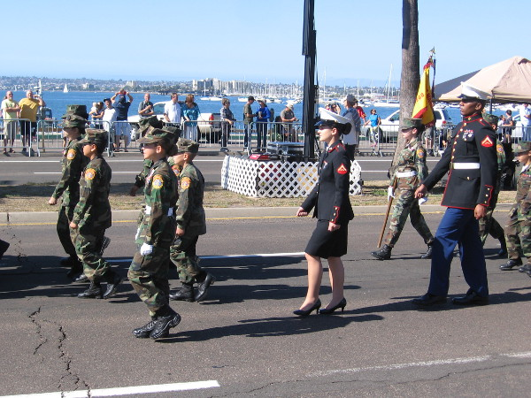 The Young Marines march by.