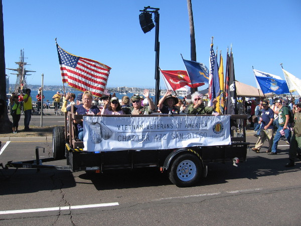 The Vietnam Veterans of America were an important part of the parade. They received loud cheers.