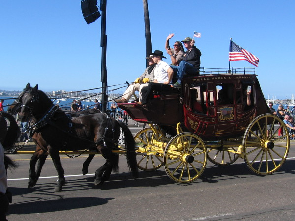 Wells Fargo had their stagecoach in the parade. They saluted heroes who serve.