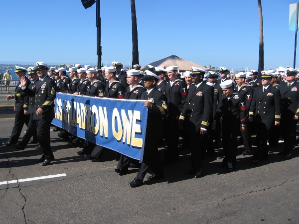 Hundreds of active duty military based in San Diego now marched past. The crowd thanked every one of them.