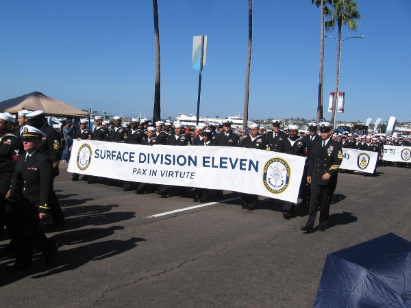 Those serving in military facilities and on Navy ships based in San Diego paraded past.