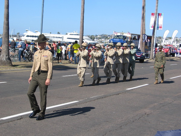 A reenactment of the raising of the flag at Iwo Jima was part of the parade.