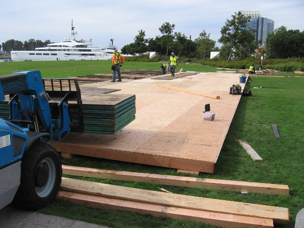 The winter ice rink is being set up in front of the Hilton San Diego Bayfront. Anticipating holiday cheer.