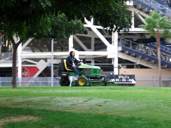 Friday morning mowing at Petco's Park at the Park.
