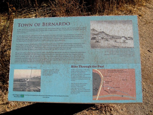 A town called Bernardo used to be located a couple miles southeast of the Sikes Adobe. The construction of the Lake Hodges Dam spelled the end for that town.