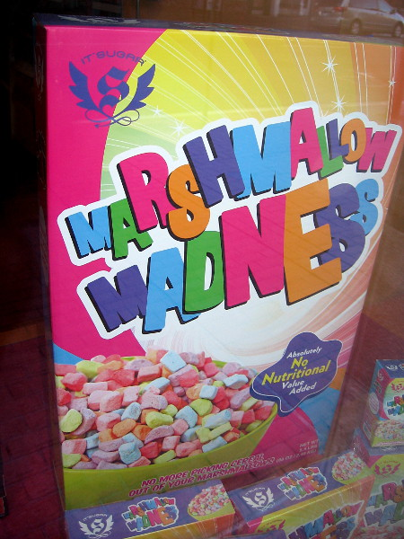 Marshmallow Madness in the window of IT'SUGAR in the Gaslamp. This cereal has Absolutely No Nutritional Value Added!