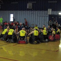Strength and determination in wheelchair rugby.