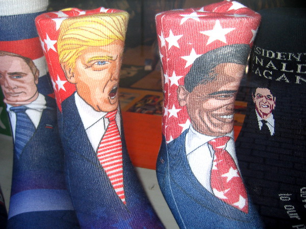 World leaders on socks! Some funny gifts on display in the window of the Find Your Feet store.