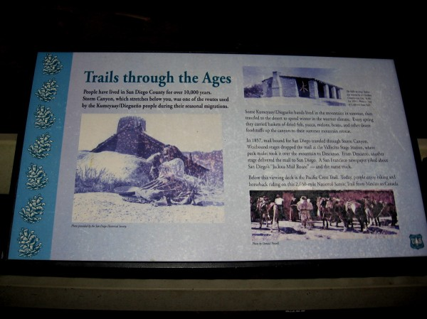 Sign at the overlook explains Trails Through the Ages. Storm Canyon below was used by the Native American Kumeyaay for thousands of years for seasonal migrations.
