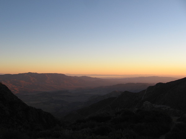 That shiny strip in the distance is light reflecting from the inland Salton Sea.