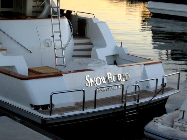 Someone from Park City, Utah with a yacht is bored of the snow, or snowboarding, apparently.